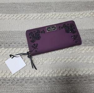 KATE SPADE Burgundy Nylon Stones Embedded Wallet